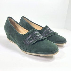 Lady Gabor Hunter Green Suede Kiltie Wedges Pumps